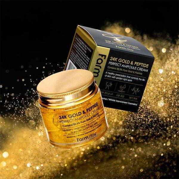 FARMSTAY 24K GOLD & PEPTIDE PERFECT AMPOULE CREAM
